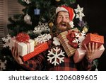 christmas man with beard on... | Shutterstock . vector #1206089605