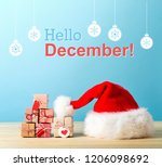 hello december message with a... | Shutterstock . vector #1206098692