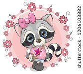cute cartoon raccoon girl with... | Shutterstock .eps vector #1206103882