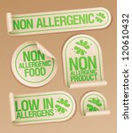 Non allergenic products stickers set. - stock vector