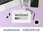 weekend loading text on white...   Shutterstock .eps vector #1206105118