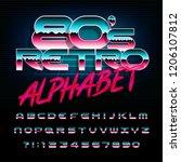 80s retro alphabet font.... | Shutterstock .eps vector #1206107812