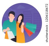 a couple holding shopping bags ... | Shutterstock .eps vector #1206118672