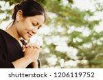 christian asian woman praying...   Shutterstock . vector #1206119752