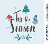 tis the season christmas vector | Shutterstock .eps vector #1206128002