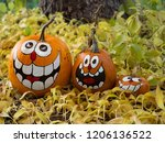 Three Smiling Painted Jack O...