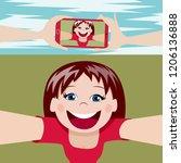 young girl making selfie | Shutterstock .eps vector #1206136888