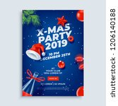 merry christmas party layout... | Shutterstock .eps vector #1206140188