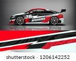 sport car racing wrap livery... | Shutterstock .eps vector #1206142252