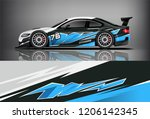 sport car racing wrap livery... | Shutterstock .eps vector #1206142345
