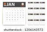 2019 calendar in paper stickers ... | Shutterstock .eps vector #1206143572