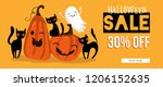 halloween sale banner with... | Shutterstock .eps vector #1206152635