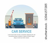 blue car. automatic rising up...   Shutterstock .eps vector #1206157285