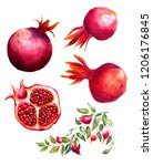 set of red ruby pink natural... | Shutterstock . vector #1206176845