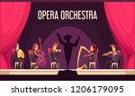 theater opera orchestra onstage ... | Shutterstock .eps vector #1206179095