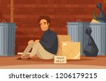 homeless people cartoon... | Shutterstock .eps vector #1206179215
