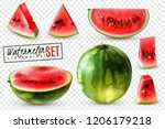 realistic watermelon set with... | Shutterstock .eps vector #1206179218