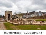 the ruins of the abbey church... | Shutterstock . vector #1206184345