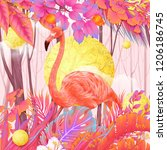 pink forest flamingo | Shutterstock . vector #1206186745