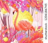 pink forest flamingo | Shutterstock . vector #1206186745