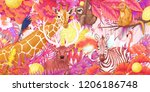 pink forest animal collection | Shutterstock . vector #1206186748