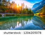 autumn sunset of hintersee lake.... | Shutterstock . vector #1206205078