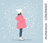 the girl catches snowflakes....