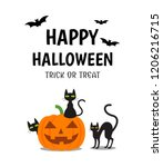 halloween poster with smile... | Shutterstock .eps vector #1206216715
