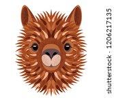 alpaca face. vector... | Shutterstock .eps vector #1206217135