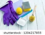 dishwashing tools and citric... | Shutterstock . vector #1206217855