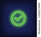 check mark round neon sign.... | Shutterstock .eps vector #1206227848