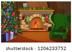 decorated christmas interior... | Shutterstock .eps vector #1206233752