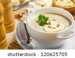 mushroom cream soup on a table  ... | Shutterstock . vector #120625705