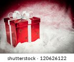 red christmas box sitting in... | Shutterstock . vector #120626122