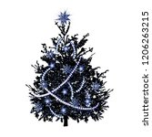 christmas fir tree with silver... | Shutterstock .eps vector #1206263215