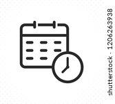 calendar and clock icon.... | Shutterstock .eps vector #1206263938