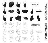hand gesture black icons in set ...   Shutterstock .eps vector #1206264052