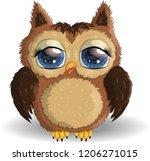 sweet fluffy  shaggy owl girl...   Shutterstock .eps vector #1206271015
