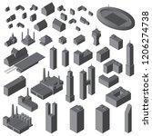 isometric buildings set. vector ... | Shutterstock .eps vector #1206274738