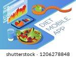 healthy food in isometric.... | Shutterstock .eps vector #1206278848