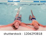 time for swimming. top view of... | Shutterstock . vector #1206293818