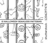 set of ten halloween monochrome ... | Shutterstock .eps vector #1206297478