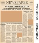realistic old newspaper front... | Shutterstock .eps vector #1206314362