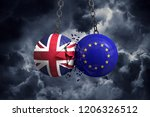 brexit concept. union jack and... | Shutterstock . vector #1206326512