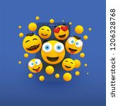 various smiling happy yellow... | Shutterstock .eps vector #1206328768