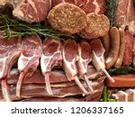 variety of raw meat as a... | Shutterstock . vector #1206337165