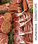 variety of raw meat as a... | Shutterstock . vector #1206337195
