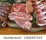 variety of raw meat as a... | Shutterstock . vector #1206337315