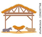 wooden stable manger with... | Shutterstock .eps vector #1206337768