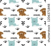 cute dog and cat seamless... | Shutterstock .eps vector #1206371848